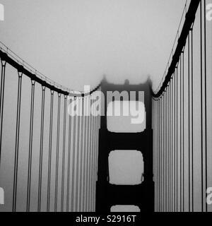A misty Golden Gate Bridge, San Francisco - Stock Photo
