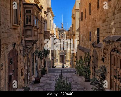 Quiet street of Valletta Old Town in Malta - Stock Photo