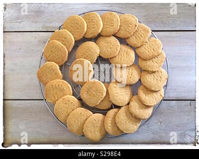 Ginger & orange biscuits on a cooling rack - Stock Photo