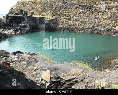 Blue lagoon in west Pembrokeshire - Stock Photo