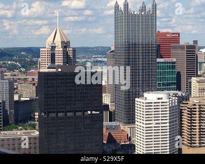Downtown Pittsburgh from the Grandview Overlook, Pennsylvania - Stock Photo