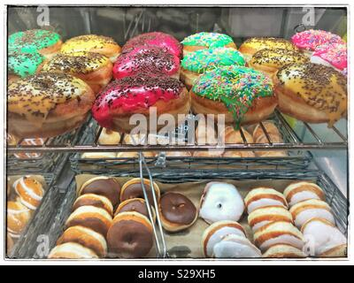Selection of doughnuts in supermarket. - Stock Photo