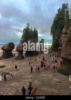 Hopewell Rocks in New Brunswick at low tide in Canada - Stock Photo