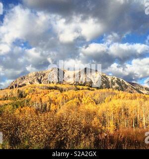 Gunnison mountain in fall with yellow foliage was taken in Gunnison County, Colorado, USA. - Stock Photo