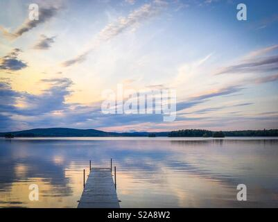 Summer evening by the lake in Dalarna, Sweden. - Stock Photo