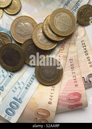 New Turkish Lira - notes and coins - Stock Photo