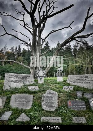"""""""Execution Wall""""at KL Gross-Rosen Concentration Camp in Rogoznica, Poland. It is now a memorial for the victims executed by the German Nazis during World War II. - Stock Photo"""