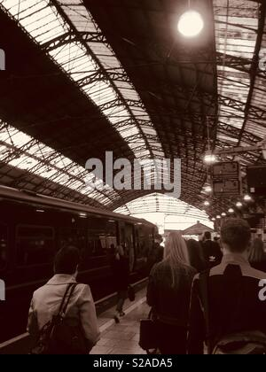 Going to work : Temple Meads Station, Bristol during morning rush hour - Stock Photo