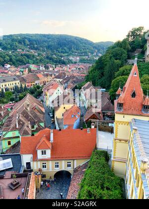 View of Sighisoara, Romania, from the Clock Tower - Stock Photo