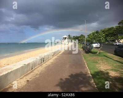 Rainbow at Ala Moana Beach, Honolulu, Hawaii, 17 September 2018 - Stock Photo