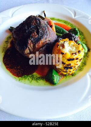 Fillet Steak with Grilled Sweetcorn - Stock Photo