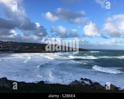 St Ives Cornwall Portminster beach winter landscape. - Stock Photo