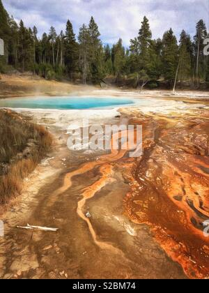 Painterly treatment of thermal runoff channels at Silex Spring in Yellowstone National Park, Wyoming, USA - Stock Photo