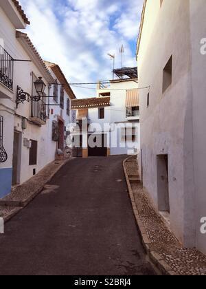 Street in Altea Old Town, Altea, Costa Blanca Spain. - Stock Photo