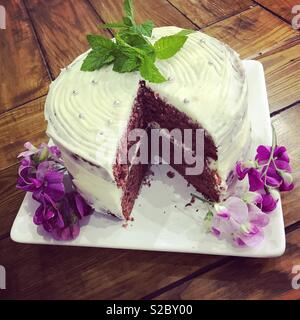 Beautiful cake with floral decoration - Stock Photo
