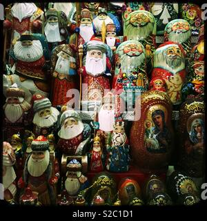 Christmas Russian Dolls on sale at the Grand Market Hall, Budapest, Hungary. - Stock Photo