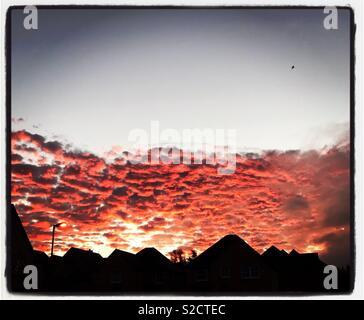Early morning sky in Midlothian Scotland - Stock Photo
