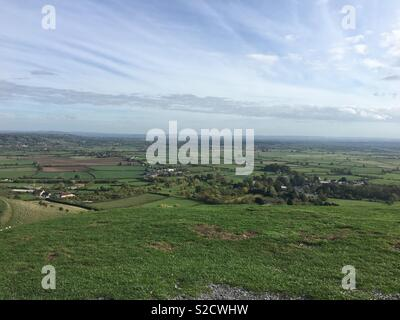 The view from the top of Glastonbury Tor - Stock Photo