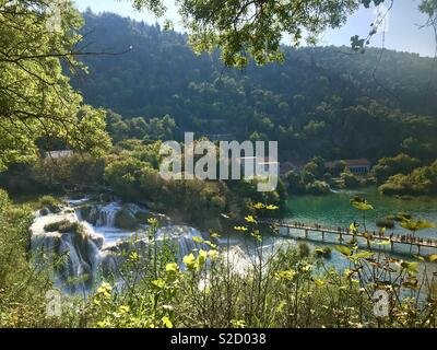 Waterfalls at Krka Falls, Croatia - Stock Photo