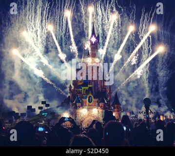Disneyland Paris illuminations - Stock Photo