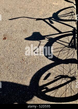 Bicycle shadows on bike path on a sunny day - Stock Photo