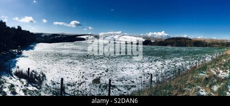 Haslingden and Rawtenstall Belthorn in the snow. - Stock Photo