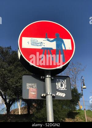 Colosseum road sign by Clet Abraham - Stock Photo