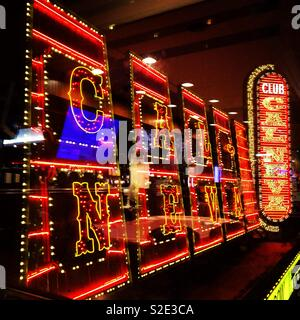 Lighted signs at night, Club Cal Neva, Downtown Reno, United States - Stock Photo
