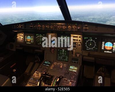 A320 Cockpit - Stock Photo