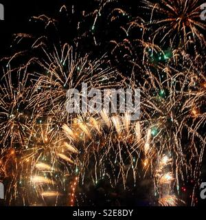 Fireworks at the London Eye on New Years Eve 2016 2017. - Stock Photo