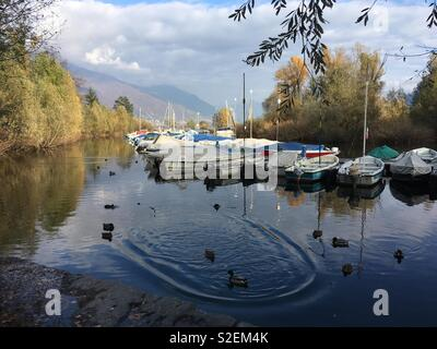 Locarno, Switzerland. small lake port - Stock Photo