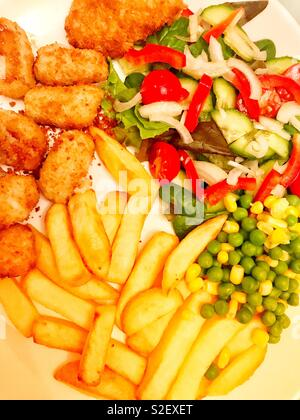 Scampi, chips and salad - Stock Photo