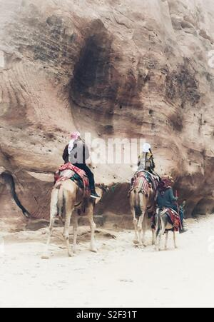 The Camels and Donkeys of Petra, Aqaba, Jordan. The Red Rose City carved in the rock by the Ancient Nabataeans. - Stock Photo