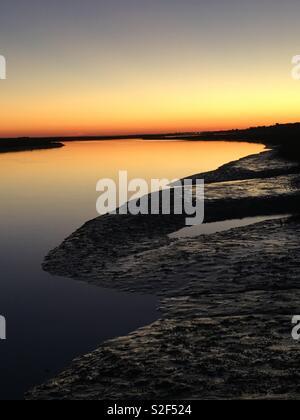 Sunset Algarve Portugal Santa Luzia - Stock Photo