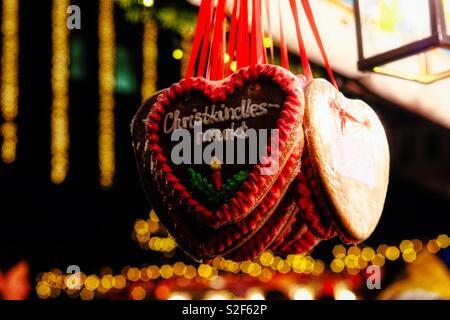 World famous Christmas Market in Nuremberg, Germany. Christkindlesmarkt. - Stock Photo