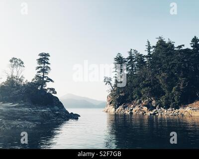 Curme Islands - a coveted camping destination for kayakers in Desolation Sound on Sunshine Coast of Vancouver Island, BC, Canada - Stock Photo
