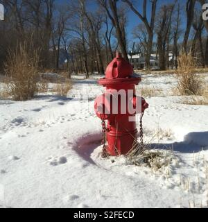Fire hydrant in winter - Stock Photo