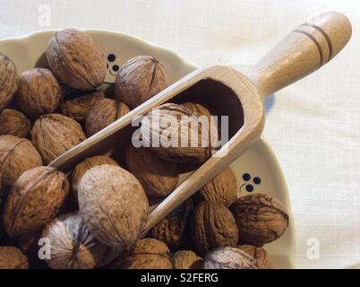 Elevated view on walnuts and chute in vintage ceramic dishes - Stock Photo
