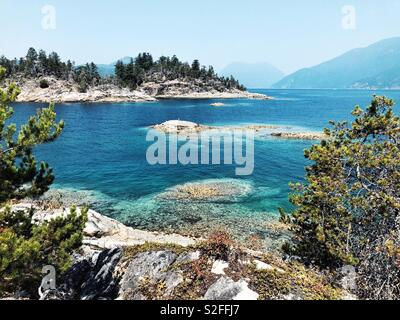 Curme Islands, destination for kayakers in Desolation Sound, Sunshine Coast, BC, Canada - Stock Photo