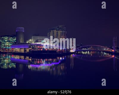 Manchester Media City in the night - Stock Photo