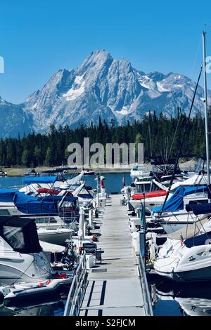 Grand Teton National Park Colter Bay Marina Jackson Lake - Stock Photo