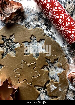 Gingerbread cookie making - Stock Photo