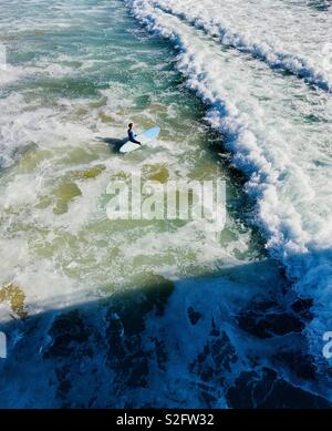 A male surfer walks out into the surf. Manhattan Beach, California USA - Stock Photo