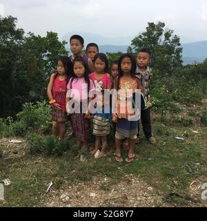 Laos village children in the mountains of southern Laos - Stock Photo