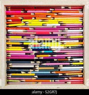 Used Colored pencils art - Stock Photo