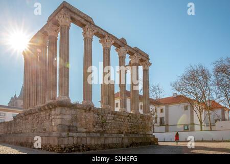 Roman Temple Diana in Evora Portugal attractions - Stock Photo
