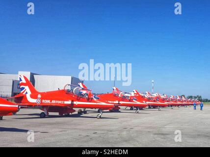 The Red Arrows in a Line up on Exhibition Day June 2018. - Stock Photo