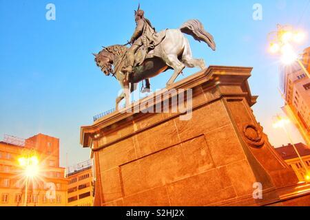 Ban Josip Jelačić sculpture at Zagreb main square - Stock Photo