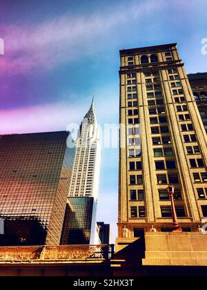 The Chrysler building is on 42nd St. in Midtown Manhattan, NYC, USA - Stock Photo