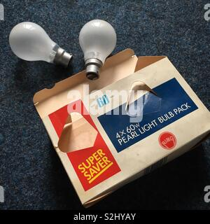 Vintage filament lightbulbs found in an office clear out. A distant memory already! - Stock Photo